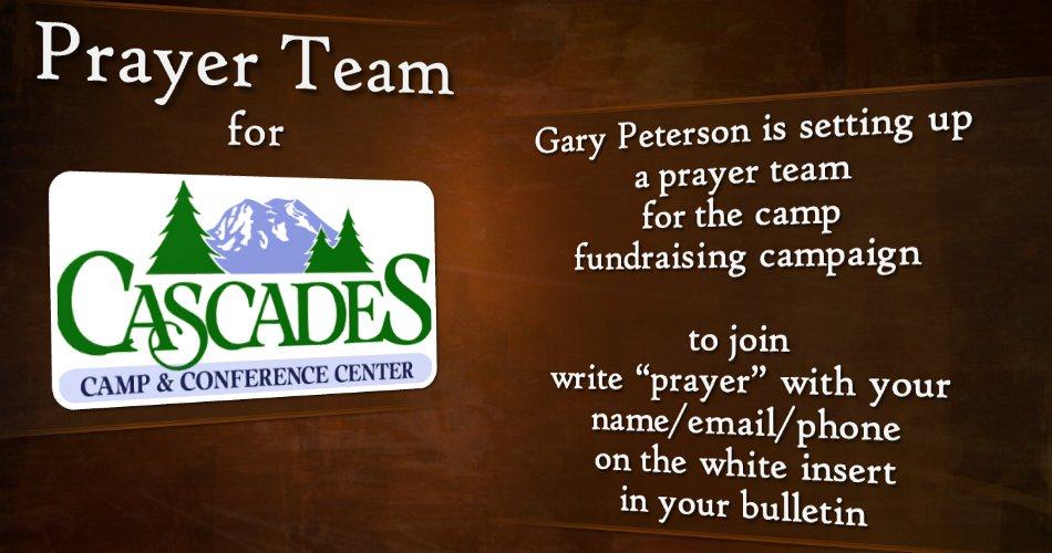 Prayer Team for Cascades Camp